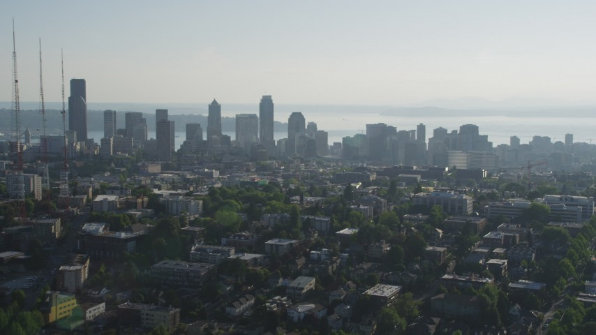 5K stock footage aerial video approach the Downtown Seattle from east of the city, Washington Aerial Stock Footage AX49_057