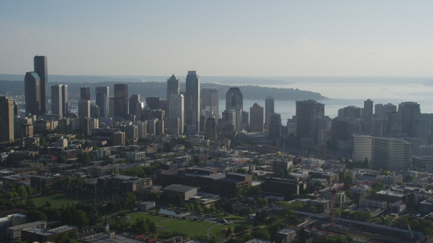 5K stock footage aerial video flyby the skyline of Downtown Seattle, Washington Aerial Stock Footage | AX49_058