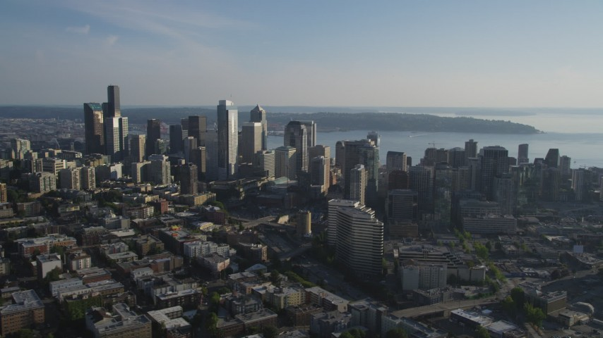 5K stock footage aerial video of skyscrapers and high-rises in Downtown Seattle, Washington Aerial Stock Footage AX49_059