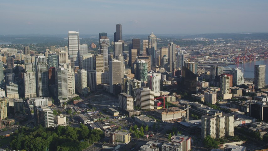 5K stock footage aerial video of skyscrapers and high-rises in Downtown Seattle, Washington Aerial Stock Footage | AX49_072