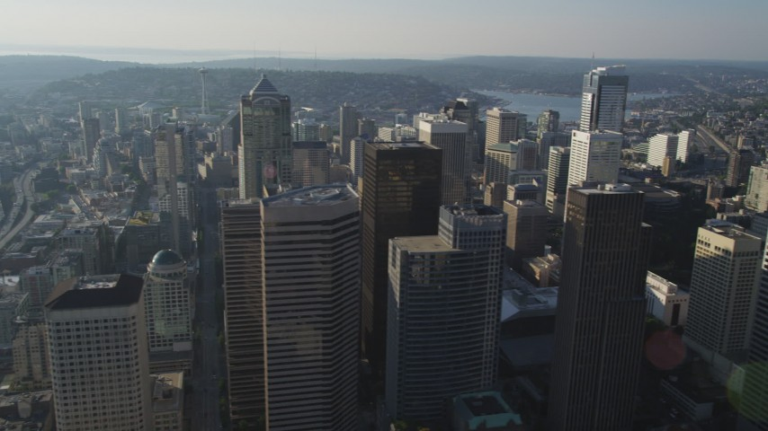 5K stock footage aerial video orbit of Columbia Center skyscraper in Downtown Seattle, Washington Aerial Stock Footage | AX49_075