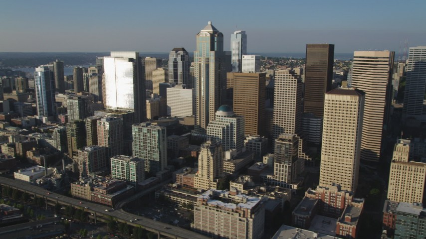 5K stock footage aerial video of towering skyscrapers and high-rises in Downtown Seattle, Washington Aerial Stock Footage | AX49_085