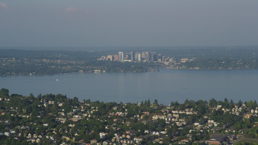 5K stock footage aerial video of a view of Downtown Bellevue, Washington, seen from across Lake Washington Aerial Stock Footage | AX49_094