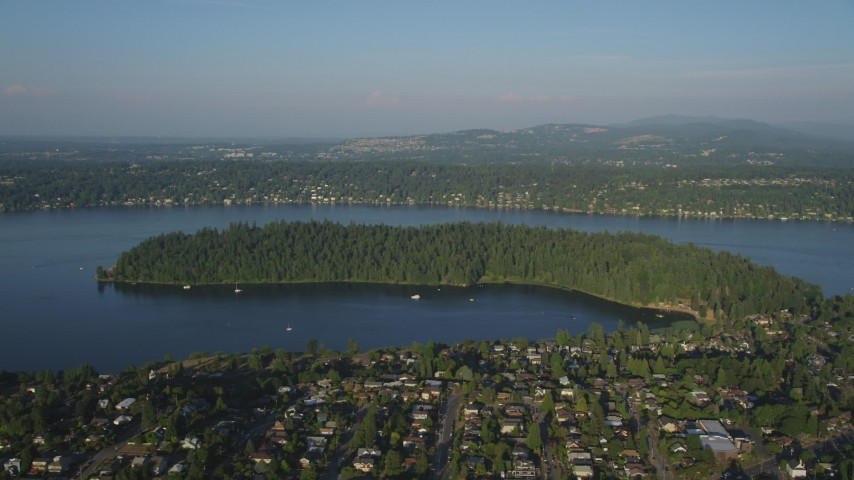 5K stock footage aerial video of Andrews Bay and the Bailey Peninsula in Lake Washington Aerial Stock Footage | AX49_097