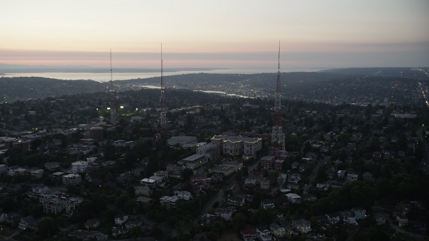 5K stock footage aerial video flyby Queen Anne High School between radio towers Queen Anne, Seattle, Washington, sunset  Aerial Stock Footage | AX50_081