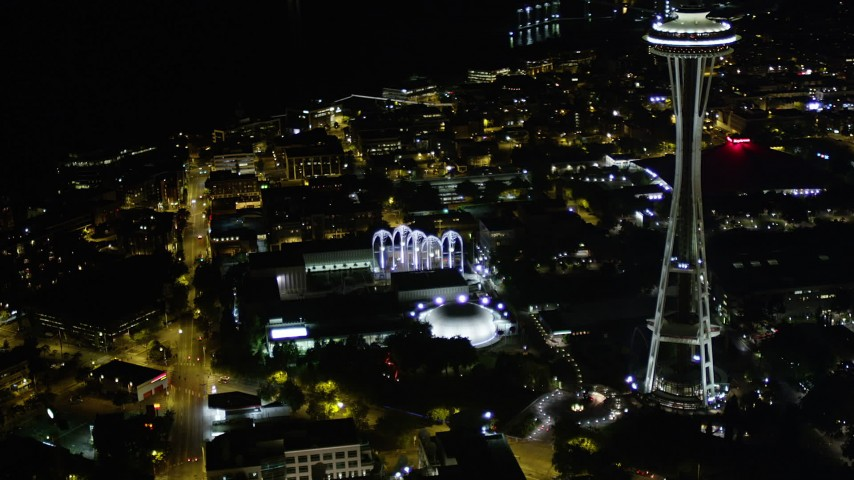 5K stock footage aerial video approach Pacific Science Center and the Space Needle, Downtown Seattle, Washington, night Aerial Stock Footage | AX51_054