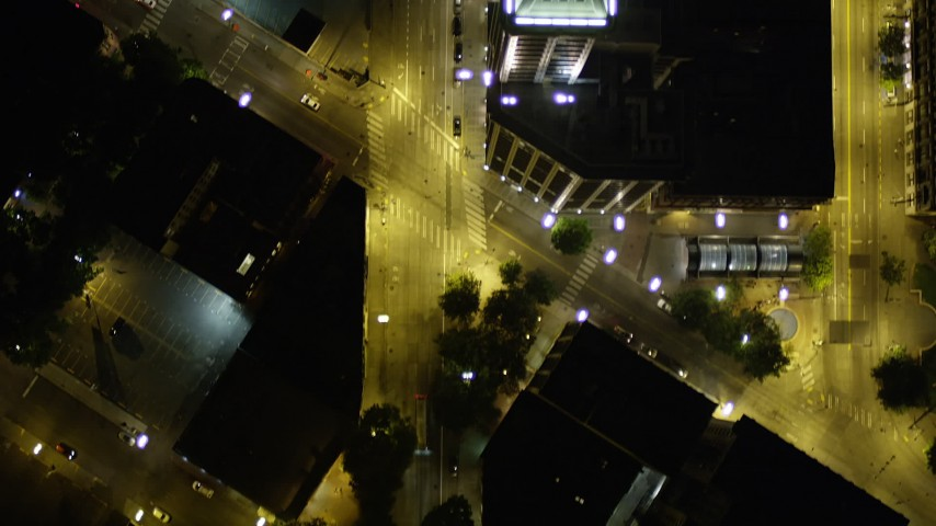 5K stock footage aerial video of bird's eye view following 2nd Avenue through Downtown Seattle, Washington, night Aerial Stock Footage | AX51_063