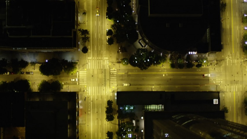 5K stock footage aerial video of bird's eye view of following 2nd Avenue through Downtown Seattle, Washington, night Aerial Stock Footage | AX51_064