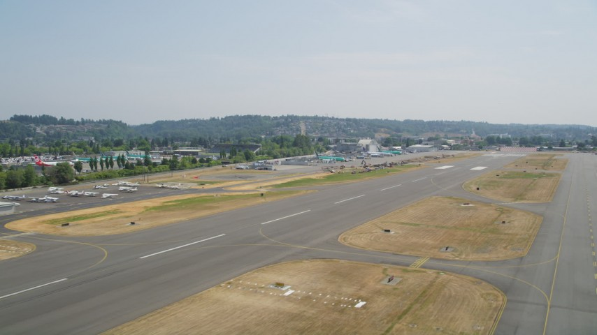 5K stock footage aerial video of lifting off from Renton Municipal Airport, Washington Aerial Stock Footage | AX52_001