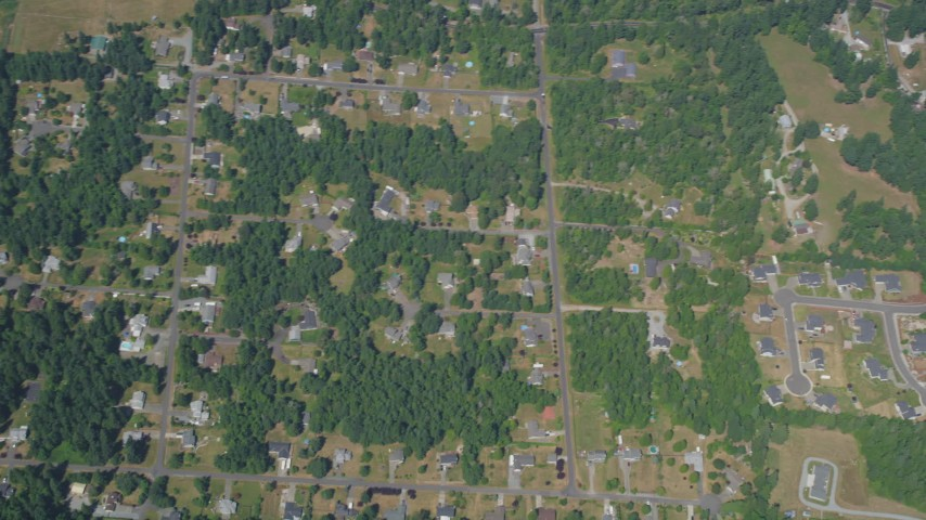 5K stock footage aerial video of bird's eye view of suburban neighborhoods, Auburn, Washington Aerial Stock Footage | AX52_006