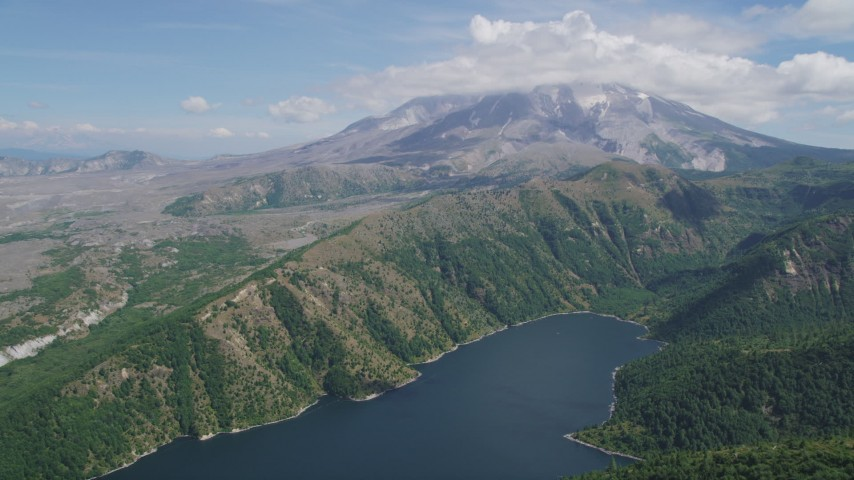 5K aerial video fly over Castle Lake to approach Mount St. Helens, Washington Aerial Stock Footage | AX52_042