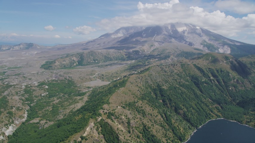 5K stock footage aerial video of Mount St. Helens seen from Castle Lake, Washington Aerial Stock Footage | AX52_043