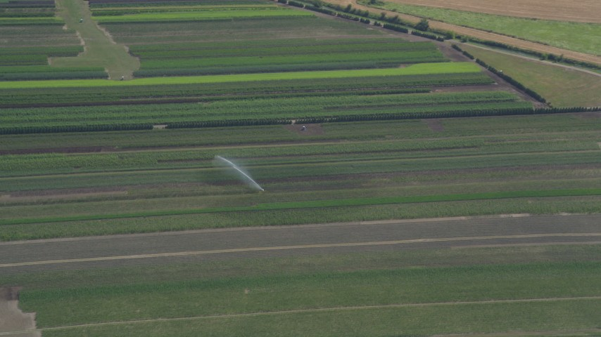 5K stock footage aerial video of tracking a sprinkler watering a crop field in Riverview, Oregon Aerial Stock Footage | AX52_101