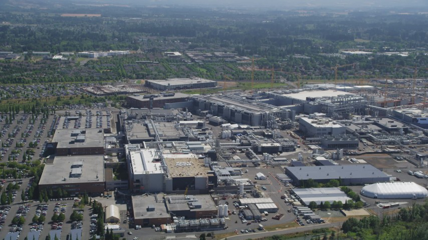 5K stock footage aerial video of approaching Intel Ronler Acres campus in Hillsboro, Oregon Aerial Stock Footage | AX52_115
