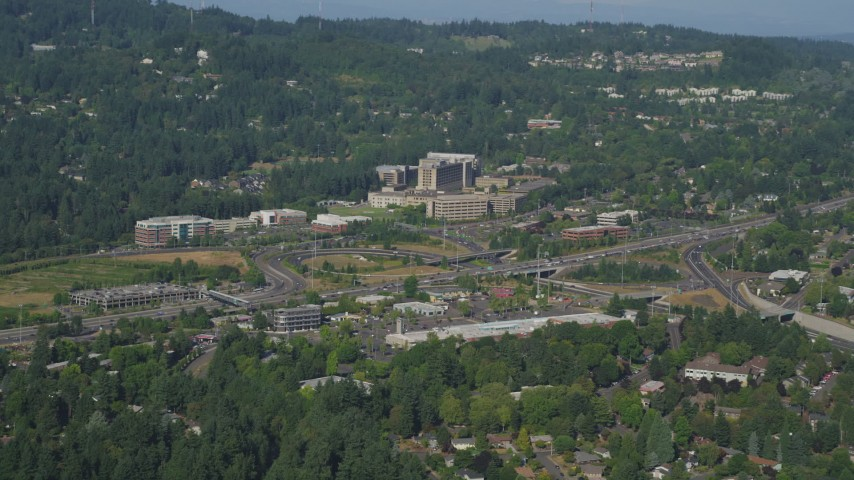 5K stock footage aerial video of approaching Portland St. Vincent Medical Center, Southwest Portland, Oregon Aerial Stock Footage   AX53_007