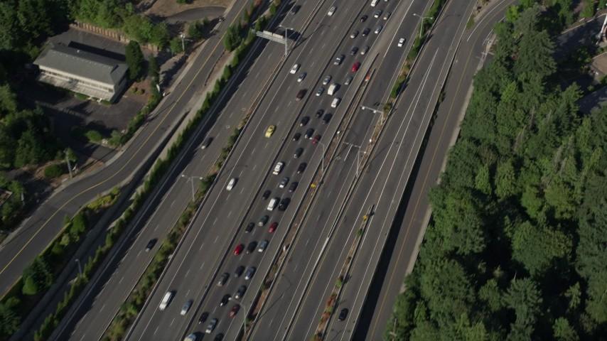 5K stock footage aerial video of following heavy highway traffic, Southwest Portland, Oregon Aerial Stock Footage | AX53_011