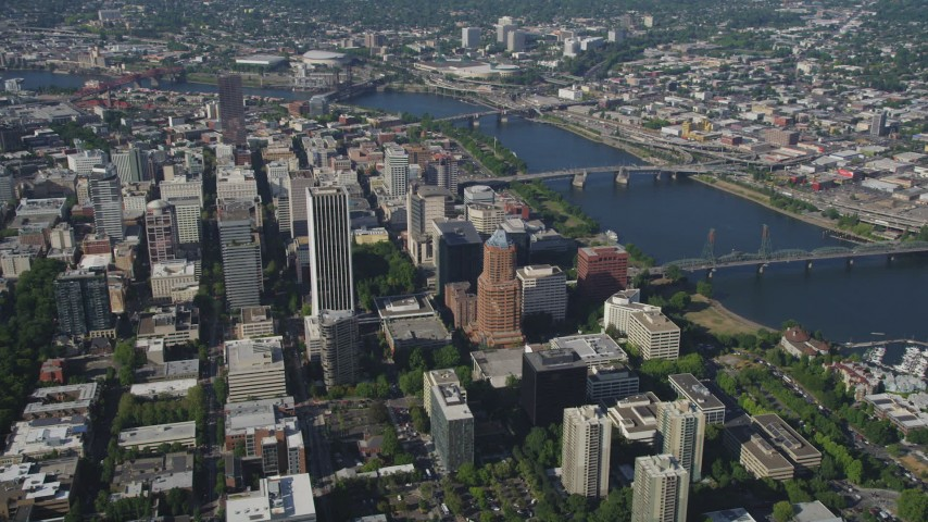 5K stock footage aerial video fly by downtown skyscrapers and high-rises, Downtown Portland, Oregon Aerial Stock Footage | AX53_016