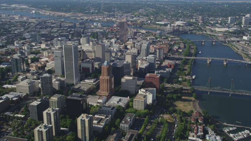Fly away from Downtown skyscrapers and high-rises, Portland, Oregon Aerial Stock Footage | AX53_017