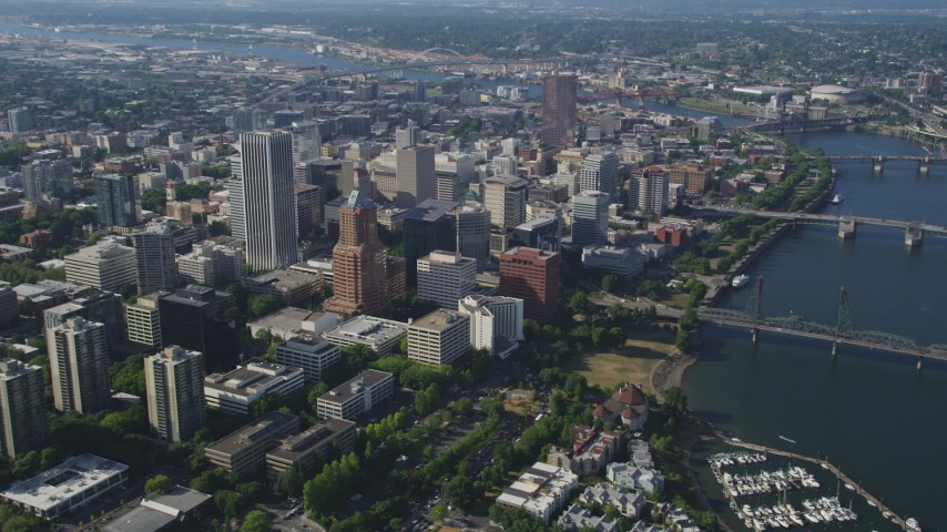 5K stock footage aerial video fly away from downtown skyscrapers and high-rises, Downtown Portland, Oregon Aerial Stock Footage | AX53_017