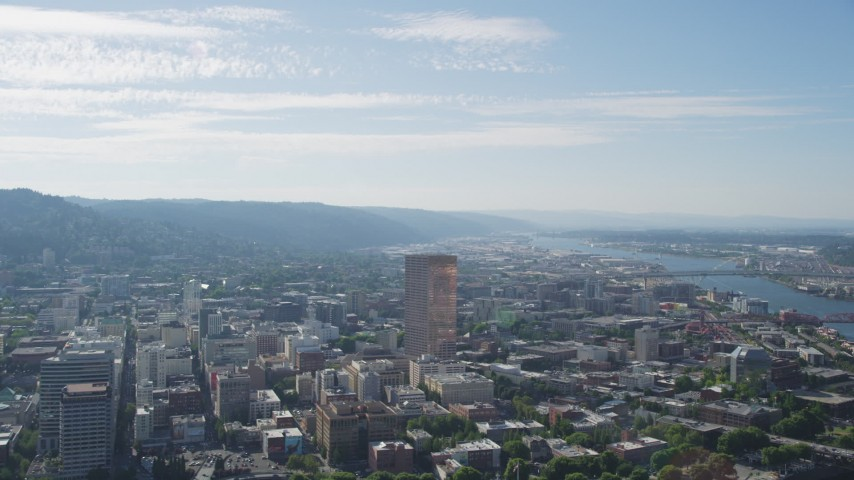 5K stock footage aerial video fly by downtown skyscrapers and buildings, Downtown Portland, Oregon Aerial Stock Footage | AX53_019
