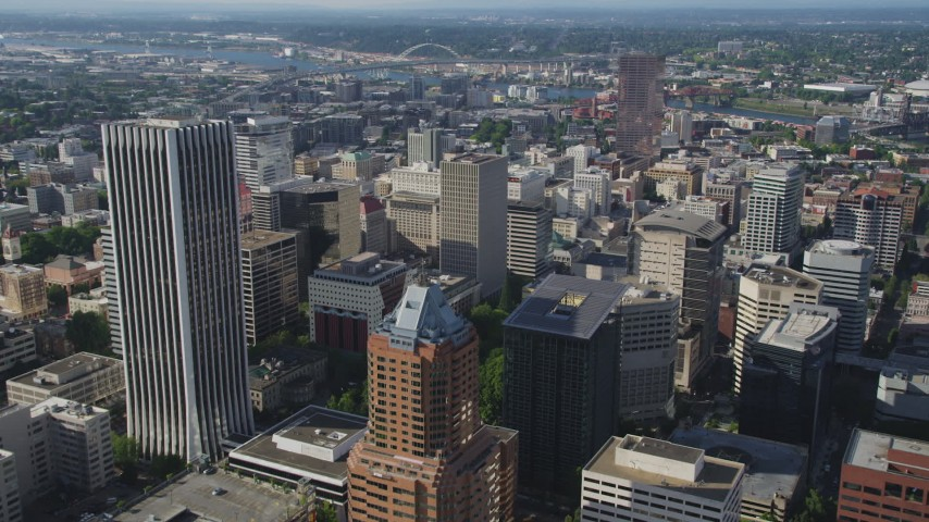 5K aerial stock footage video fly over city skyscrapers and high-rises, Downtown Portland, Oregon Aerial Stock Footage | AX53_032