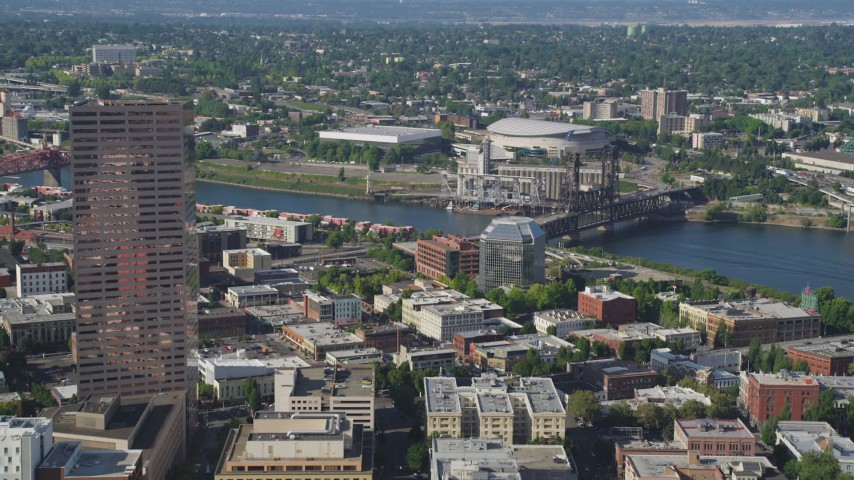 5K stock footage aerial video of approaching US Bancorp Tower among city buildings, Downtown Portland, Oregon Aerial Stock Footage | AX53_033