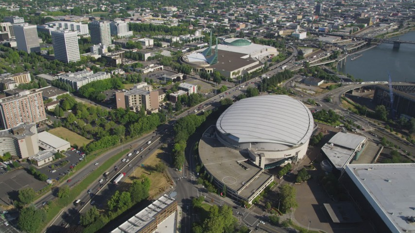5K stock footage aerial video of approaching Moda Center arena in Northeast Portland, Oregon Aerial Stock Footage | AX53_037