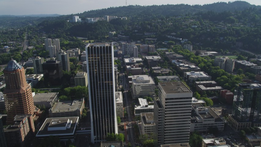 5K stock footage aerial video fly over skyscrapers toward Oregon Health and Science Center, Portland, Oregon Aerial Stock Footage | AX53_041