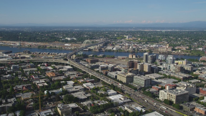 5K stock footage aerial video of Interstate 405 through Downtown Portland near the Fremont Bridge, Oregon Aerial Stock Footage | AX53_051