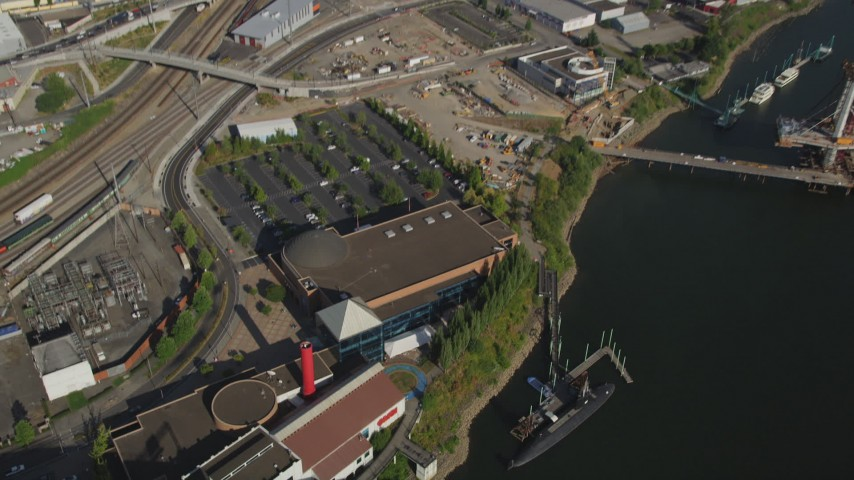 5K stock footage aerial video of bird's eye of Oregon Museum of Science and Industry, Southeast Portland, Oregon Aerial Stock Footage | AX53_055