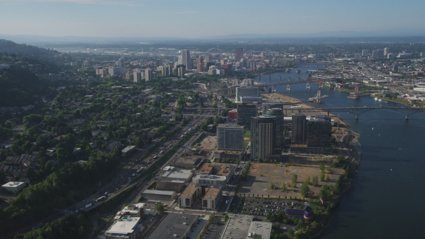 5K stock footage aerial video fly by high-rise district revealing cityscape, South Waterfront and Downtown Portland, Oregon Aerial Stock Footage AX53_058