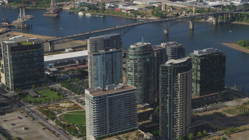5K stock footage aerial video fly by condominium high-rises, South Waterfront, Portland, Oregon Aerial Stock Footage | AX53_071