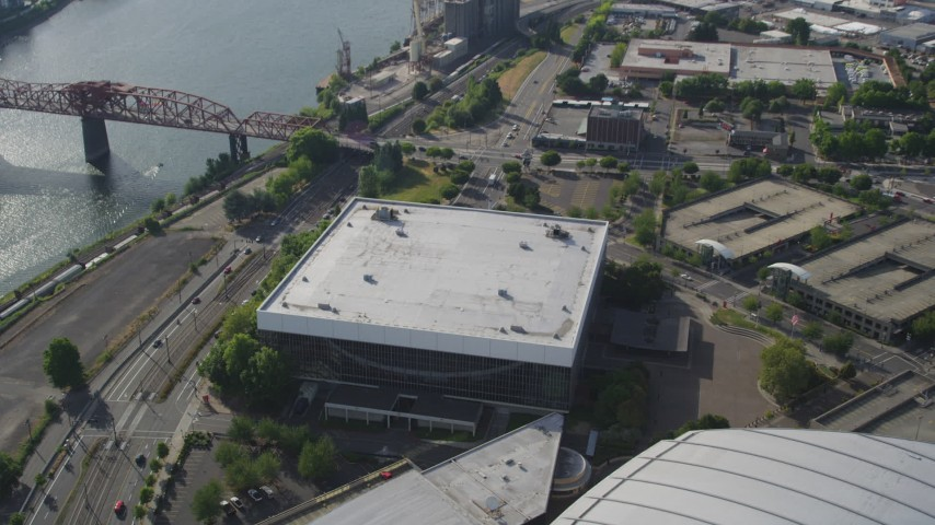 5K stock footage aerial video of approaching the Veterans Memorial Coliseum, Lloyd District, Northeast Portland, Oregon Aerial Stock Footage | AX53_077