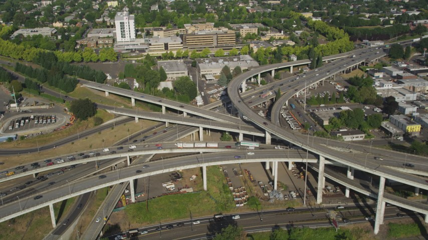 5K stock footage aerial video of Interstate 5 and 405 interchange pan to Medical Center, North Portland, Oregon Aerial Stock Footage | AX53_081
