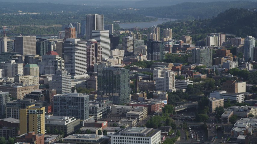 5K stock footage aerial video fly by city office buildings and high-rises, Downtown Portland, Oregon Aerial Stock Footage | AX53_084