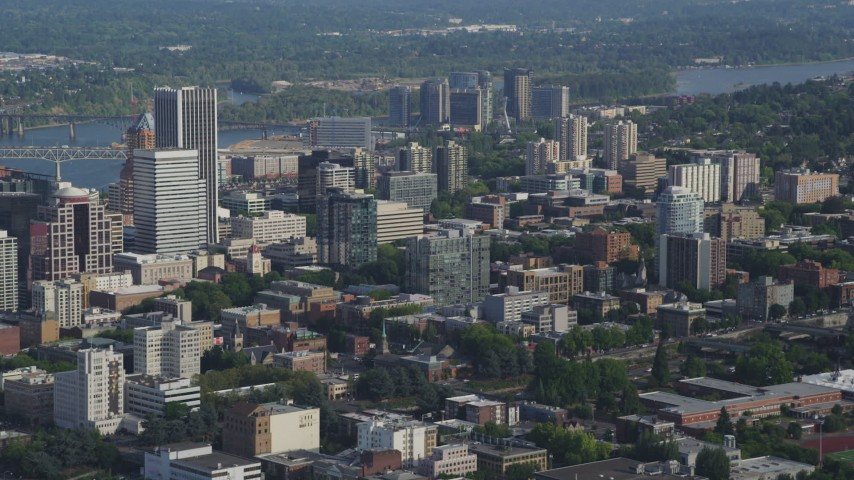 5K stock footage aerial video fly by city buildings and skyscrapers, Downtown Portland, Oregon Aerial Stock Footage | AX53_085