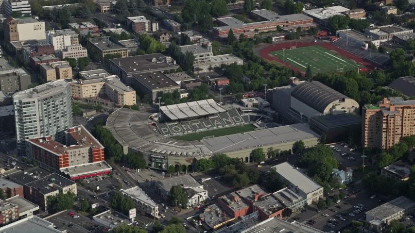 5K stock footage aerial video of Providence Park, Major League Soccer Stadium, Portland, Oregon Aerial Stock Footage | AX53_086