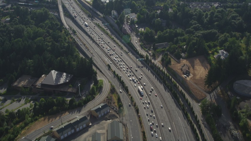 5K stock footage aerial video fly over heavy highway traffic, Northwest Portland, Oregon Aerial Stock Footage | AX53_090