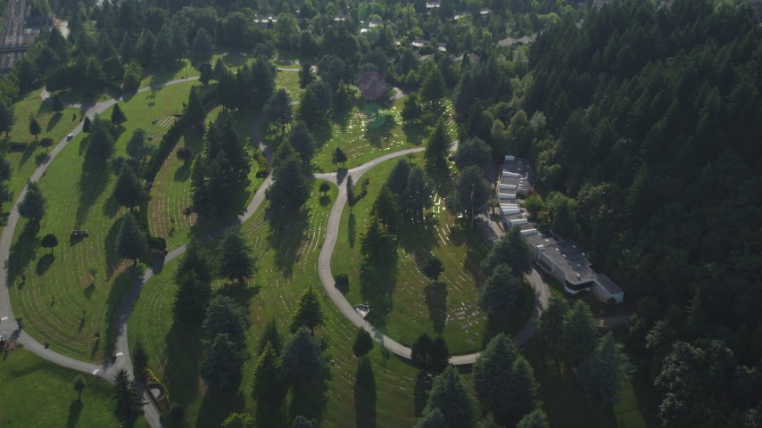 5K stock footage aerial video of bird's eye of a cemetery, Sunset Hills Memorial Park, Southwest Portland, Oregon Aerial Stock Footage | AX53_091