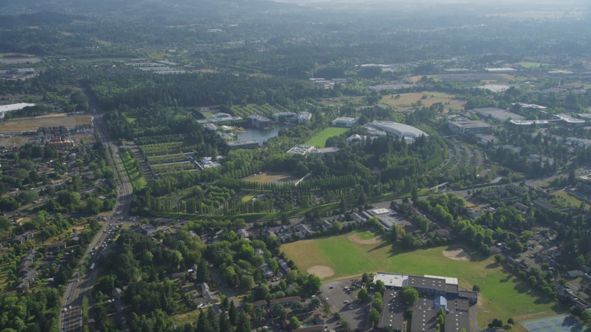 5K stock footage aerial video of flying by Nike Headquarters, Beaverton, Oregon Aerial Stock Footage | AX53_097