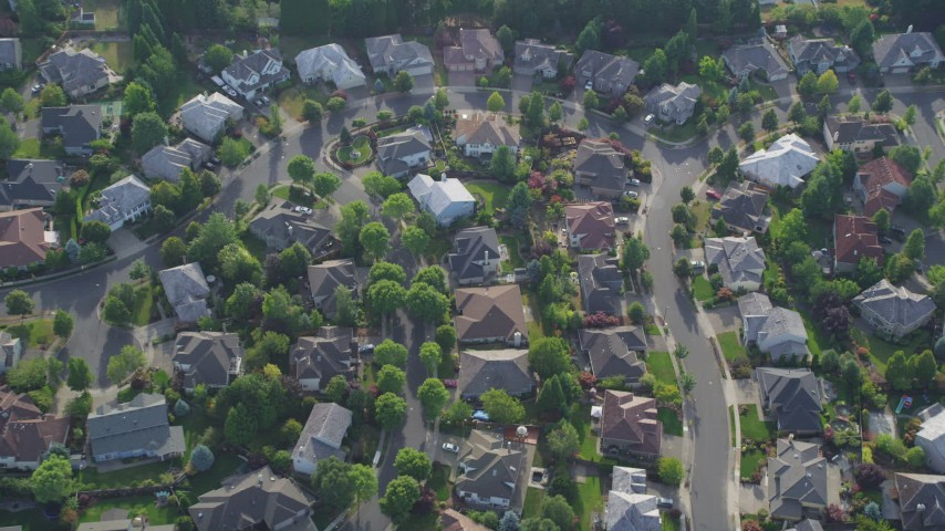 5K stock footage aerial video tilt down to bird's eye of a residential neighborhood, Beaverton, Oregon Aerial Stock Footage AX53_099 | Axiom Images