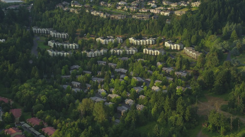 5K stock footage aerial video of hillside apartment buildings, Southwest Portland, Oregon, sunset Aerial Stock Footage | AX54_012