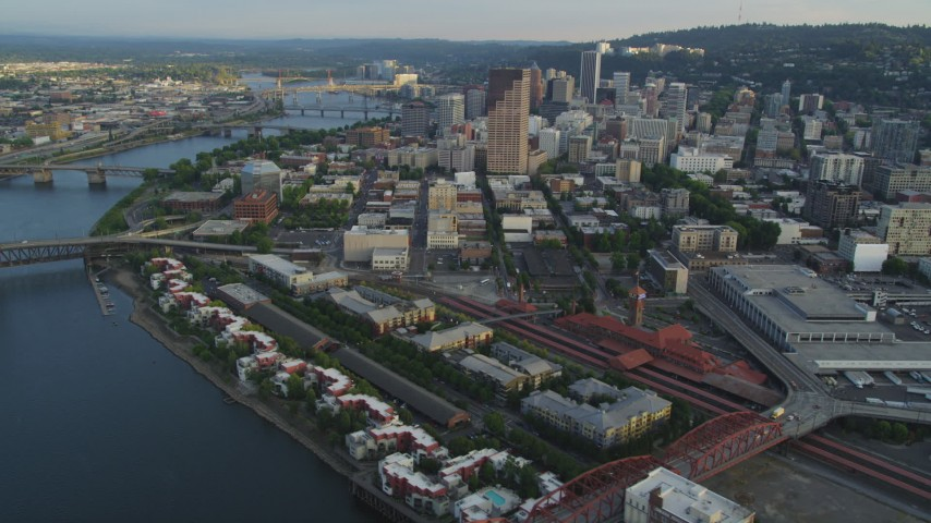 5K stock footage aerial video of approaching Downtown Portland, flying by Union Station, Portland, Oregon, sunset Aerial Stock Footage | AX54_029