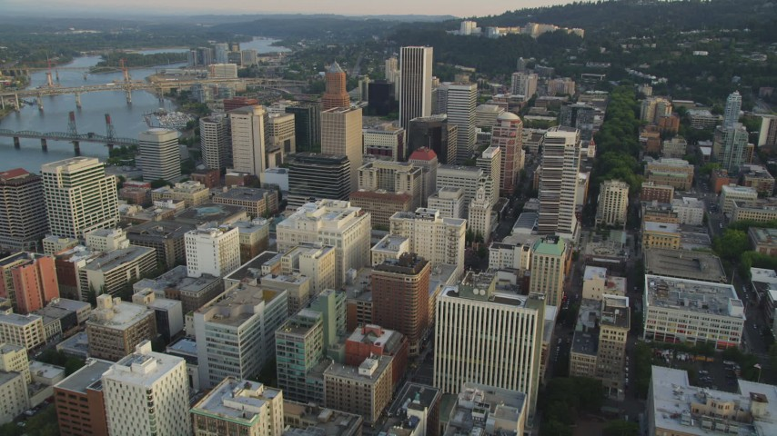 Approaching Oregon Science and Health University, Portland, Oregon, sunset Aerial Stock Footage | AX54_049