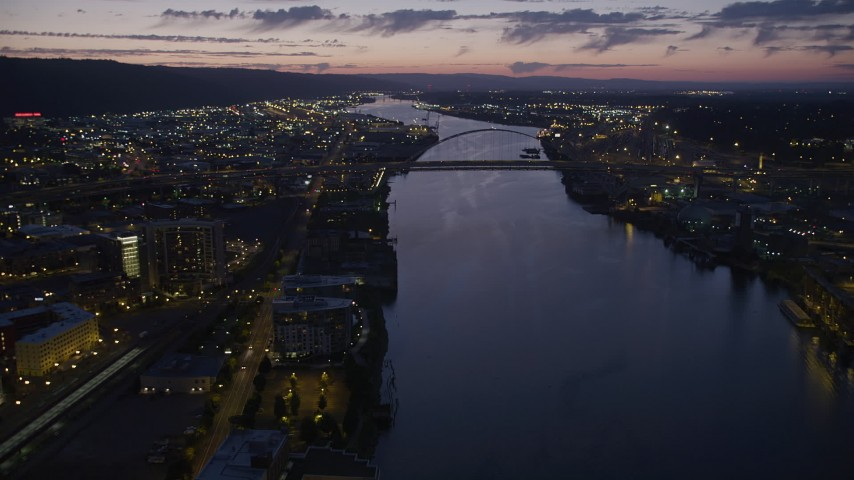 5K stock footage aerial video of approaching the Fremont Bridge, Downtown Portland, Oregon, twilight Aerial Stock Footage   AX55_004
