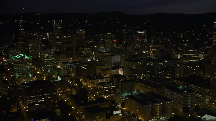 5K stock footage aerial video of flying over Downtown Portland, Oregon, night Aerial Stock Footage   AX55_039