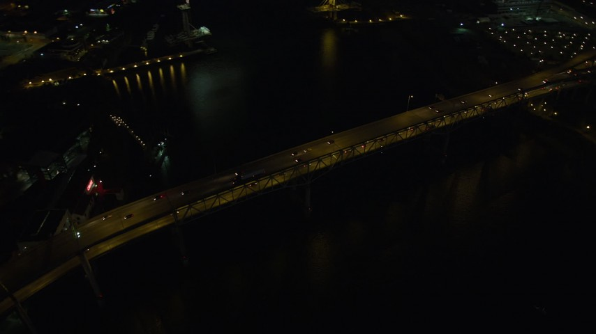 5K stock footage aerial video of orbiting Marquam Bridge, Downtown Portland, Oregon, night Aerial Stock Footage | AX55_042