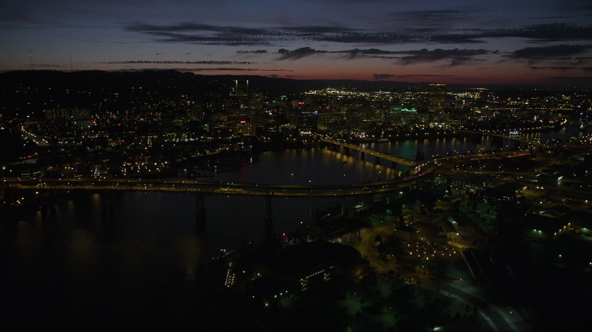 5K stock footage aerial video of flying over Marquam Bridge, approaching Downtown Portland, Oregon, twilight Aerial Stock Footage | AX55_044