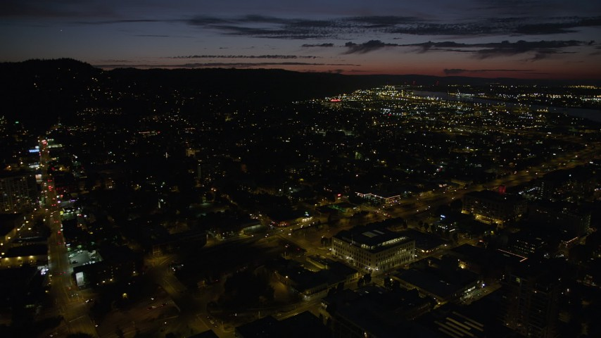 5K stock footage aerial video approach Interstate 405 through Downtown Portland, Oregon, night Aerial Stock Footage | AX55_048