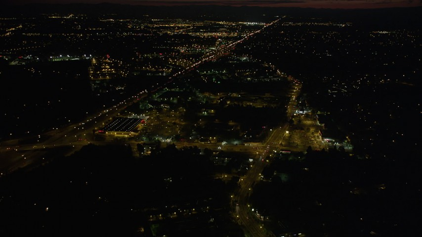 5K stock footage aerial video of approaching Home Depot and Highway 26 in Southwest Portland, Oregon, night Aerial Stock Footage | AX55_064